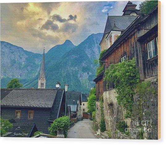 Hallstatt Village Stroll Wood Print