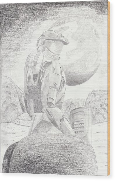 Halo Soldier Wood Print