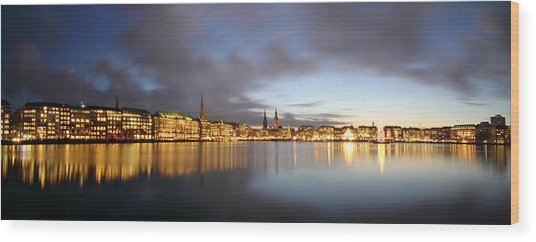 Hamburg Alster Christmas Time Wood Print