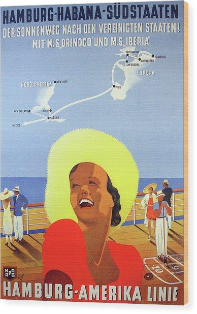 Hamburg - America Cruise, Smiling Woman On Boat Wood Print