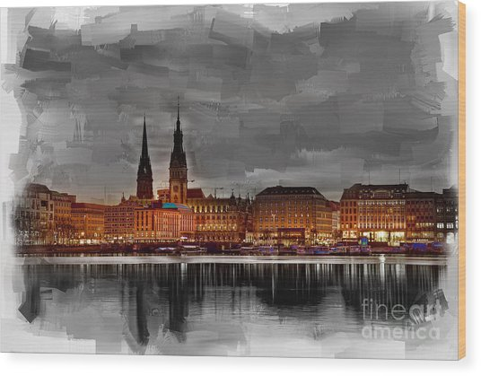Hamburg Germany Skyline 01 Wood Print