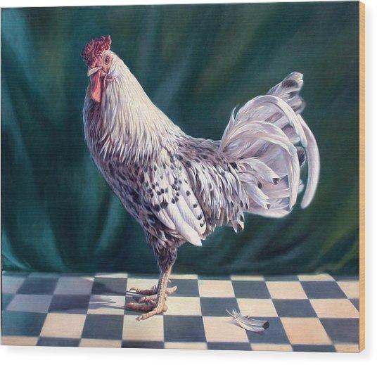 Hamburger Rooster Wood Print