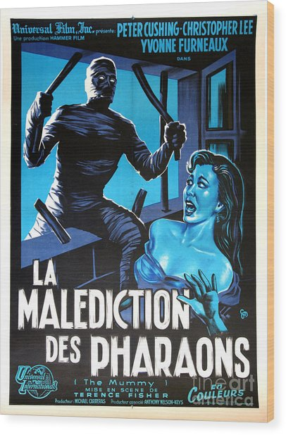 Hammer Movie Poster The Mummy La Malediction Des Pharaons Wood Print