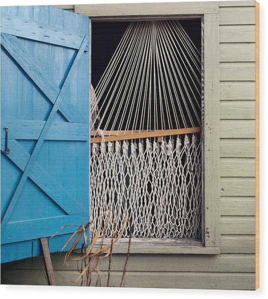 Hammock In Key West Window Wood Print