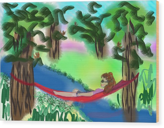 Hammock Under The Chihuahua Trees Wood Print