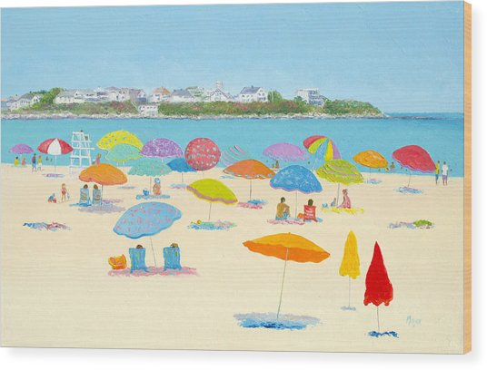 Hampton Beach Umbrellas Wood Print