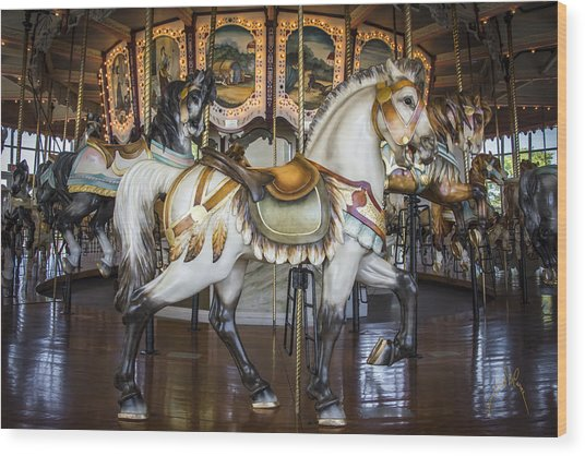 Hampton Carousel Wood Print