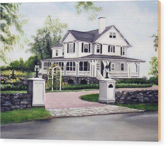 Hampton Home Portrait Wood Print by Gail Wurtz