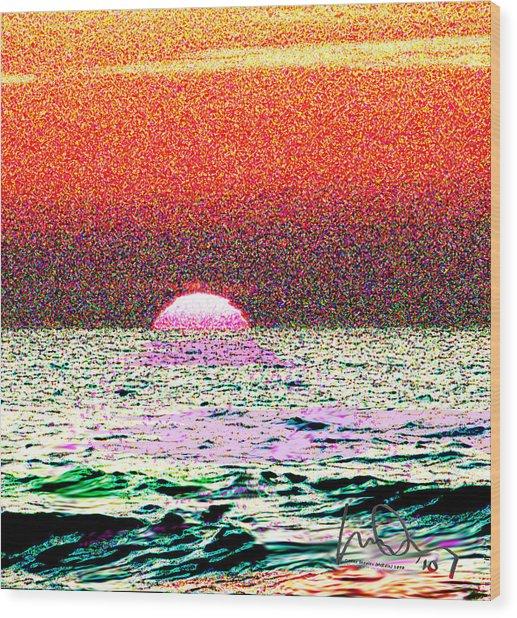 Hamriyah Sunset 2010 Wood Print by Mike Shepley DA Edin