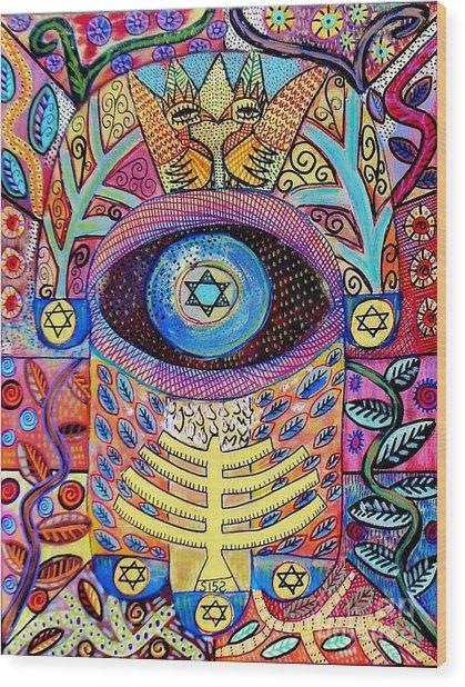 -hamsa Menorah Tree Of Life - Bright Lights  Wood Print
