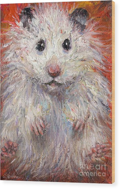 Hamster Painting  Wood Print