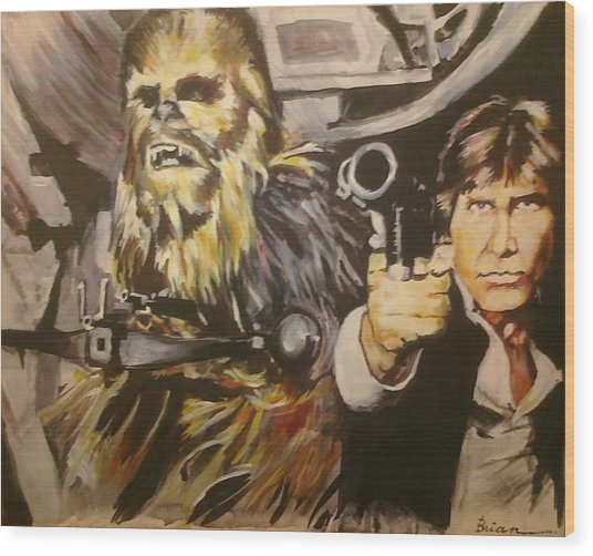 Han And Chewie Wood Print by Brian Child