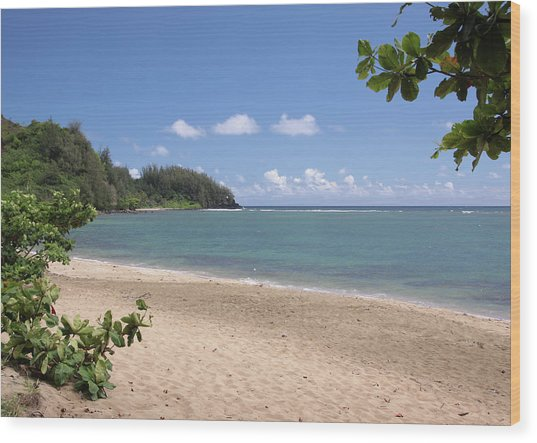 Hanalei Bay Beach Wood Print