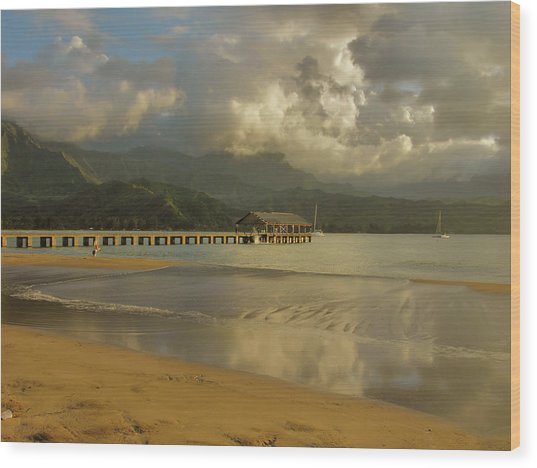 Hanalei Bay Reflections Wood Print