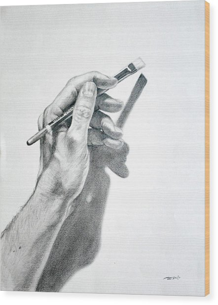 Hand Holding Brush Wood Print