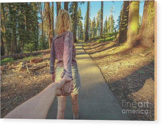 Hand In Hand Sequoia Hiking Wood Print