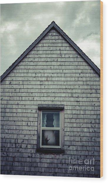 Hand In The Window Wood Print