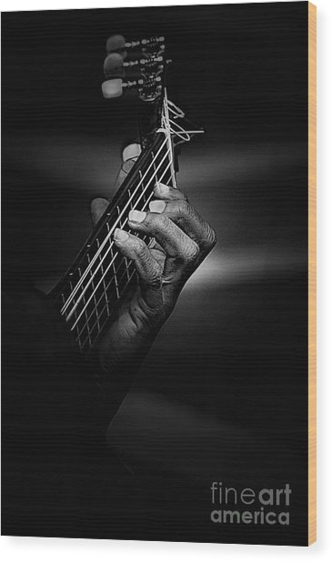 Hand Of A Guitarist In Monochrome Wood Print