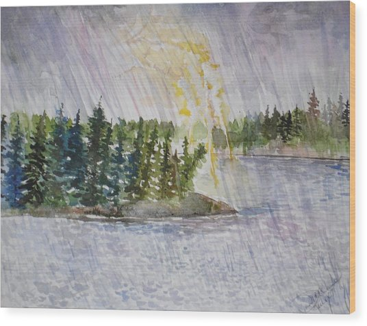 Hand Of God Storm Over Lake Jordan Wood Print by Mona McClave Dunson