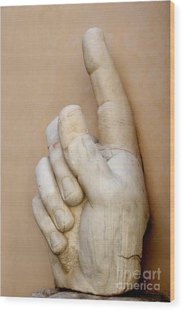 Hand With Pointing Index Finger. Statue Of Constantine. Palazzo Dei Conservatori. Capitoline Museums Wood Print