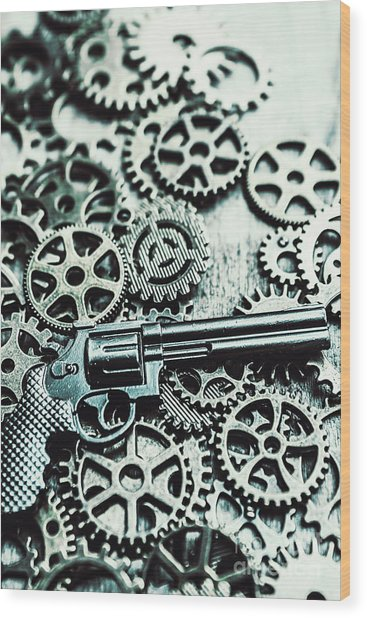 Handguns And Gears Wood Print