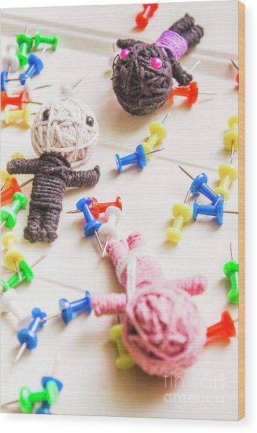 Handmade Knitted Voodoo Dolls With Pins Wood Print