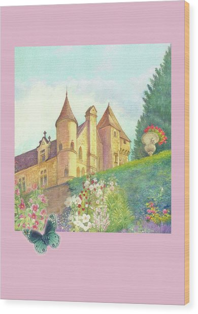 Handpainted Romantic Chateau Summer Garden Wood Print