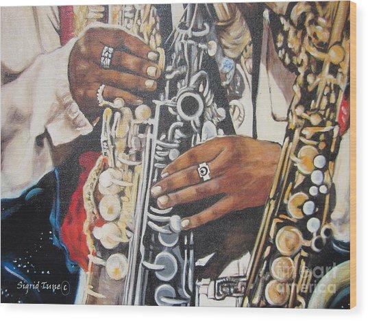 Blaa Kattproduksjoner        Hands Of Music - 2 Wood Print