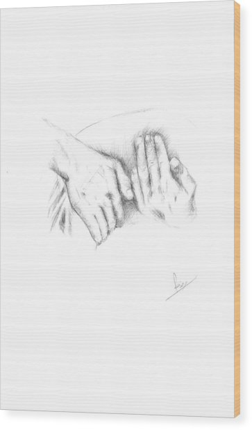 Hands Wood Print by Reza Naqvi