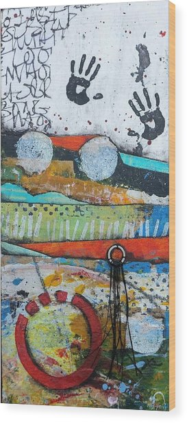 Hands Up In The Sky Wood Print