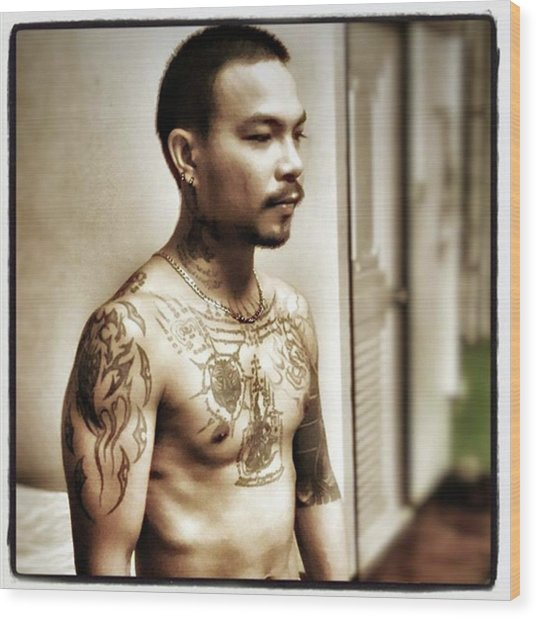 Wood Print featuring the photograph Handsome Man With Tattoos. #thailife by Mr Photojimsf