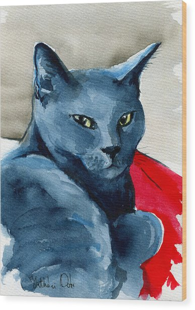 Handsome Russian Blue Cat Wood Print