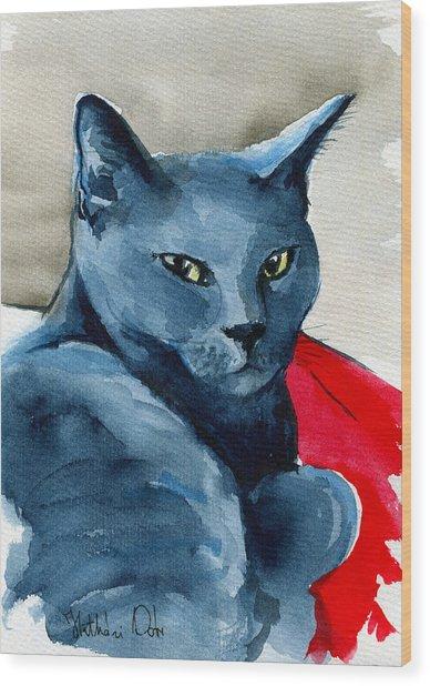 Handsome Russian Blue Cat Wood Print
