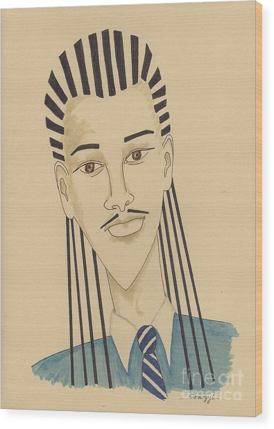 Handsome Young Man -- Stylized Portrait Of African-american Man Wood Print