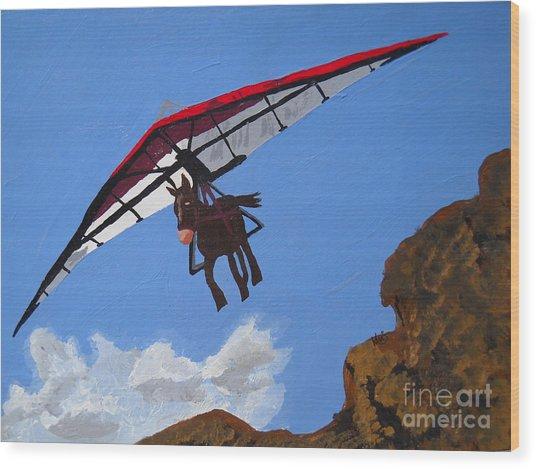 Hang Gliding Donkey Wood Print