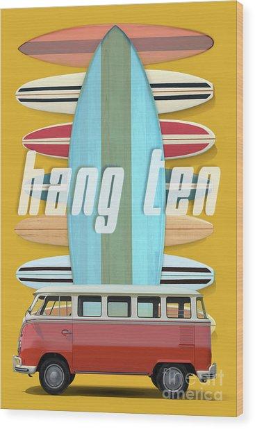 Wood Print featuring the digital art Hang Ten Surfboard Surfer Van by Edward Fielding