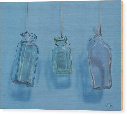 Hanging Bottles Wood Print