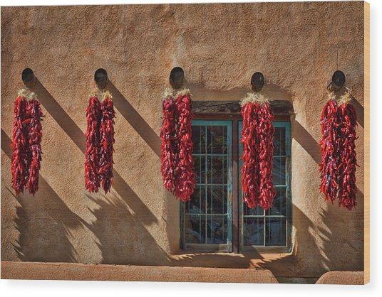 Hanging Chili Ristras - Taos Wood Print