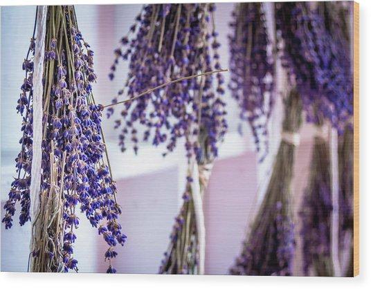 Hanging Lavender Wood Print