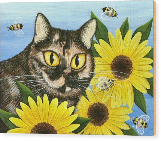 Hannah Tortoiseshell Cat Sunflowers Wood Print