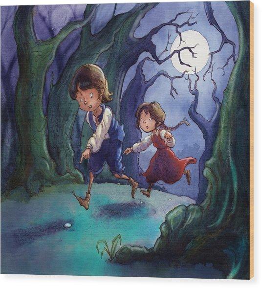 Hansel And Gretel Pebbles Wood Print