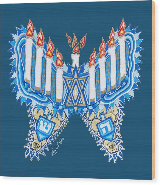 Hanukkah Butterfly Wood Print