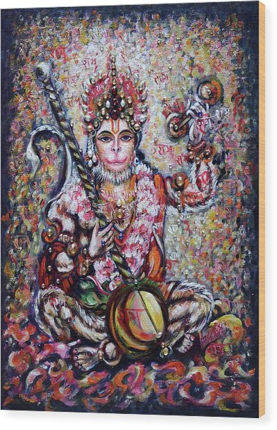 Hanuman - Ecstatic Joy In Rama Kirtan Wood Print