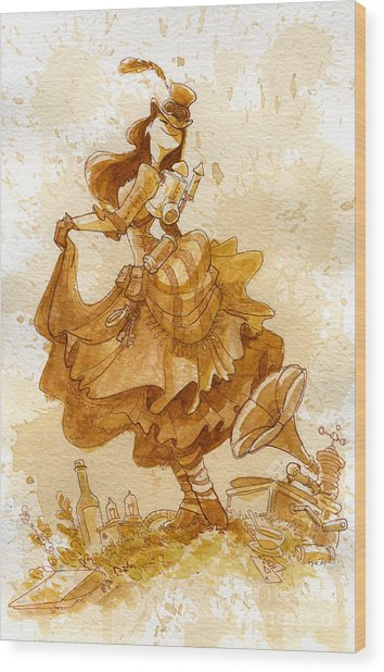 Happiness Wood Print by Brian Kesinger