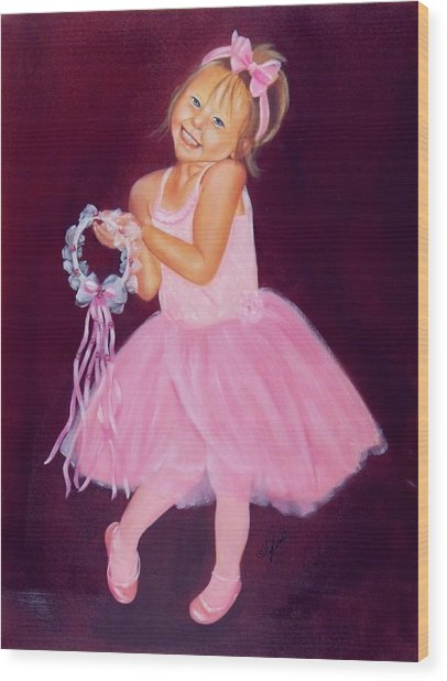 Happy Ballerina Wood Print