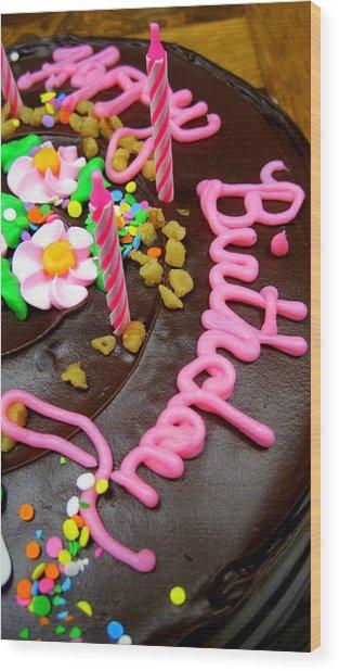 Happy Birthday Chocolate Cake Wood Print