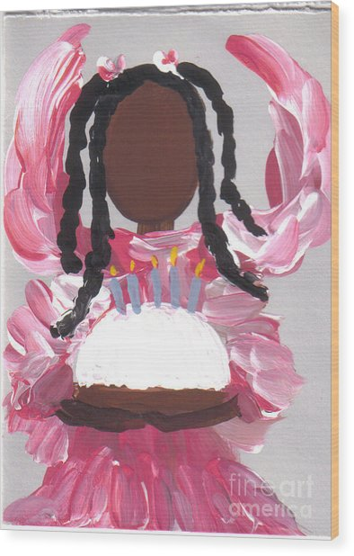 Happy Birthday From The Cake Angel Wood Print by Roz Roy