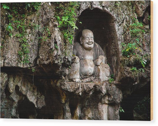Happy Buddha Wood Print