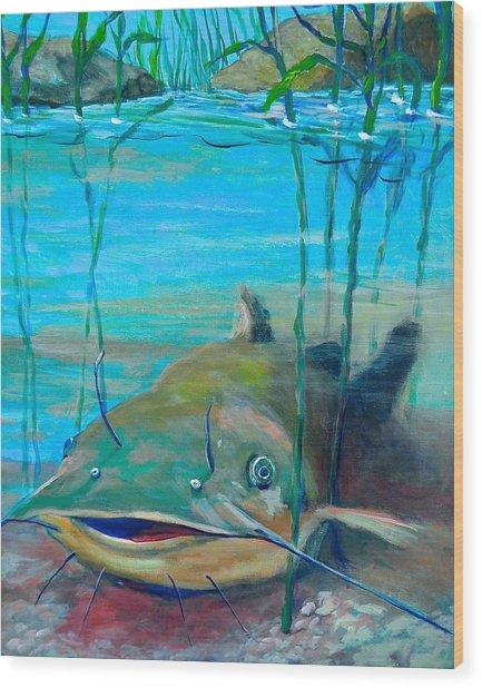 Happy Catfish Wood Print