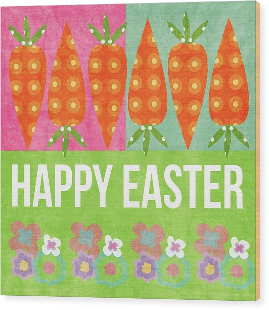 Happy Easter Wood Print